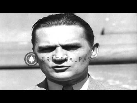 Senator Nye announces the Neutrality Act of 1935 in an interview in Washington DC...HD Stock Footage