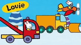 Snowplug, tow truck, plane, train - Louie draw me | Cars trucks cartoons for kids compilation