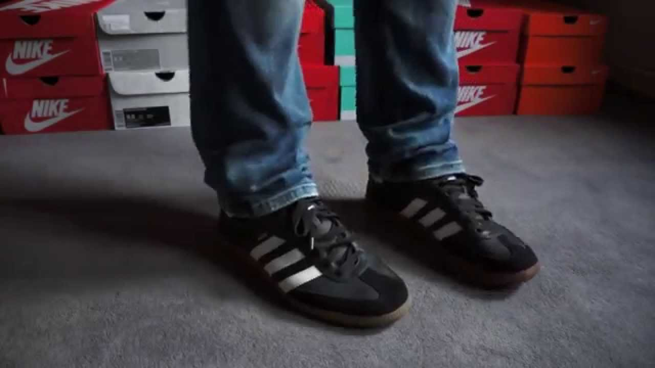 Original 1980 - ADIDAS - SAMBA - Black   White Leather - on feet ... 88dabb927