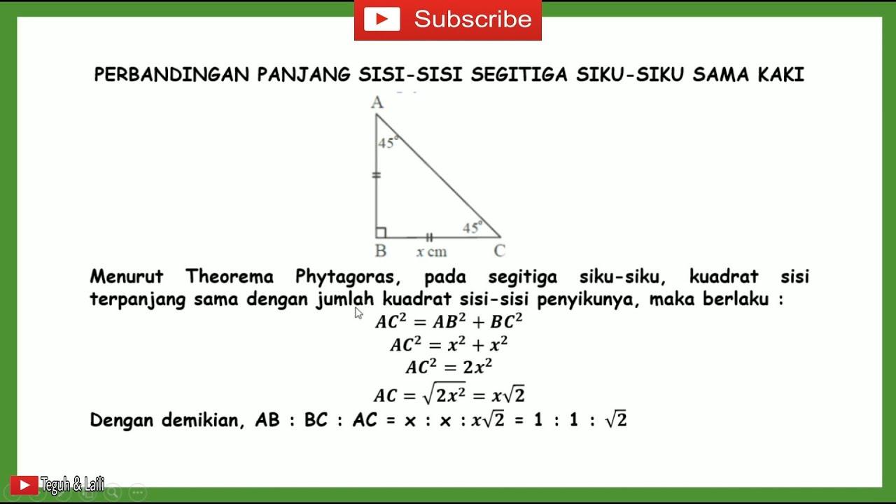 Matematika Kelas 20 Materi Perbandingan Sisi Sisi Segitiga Siku ...