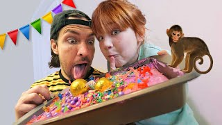 BiRTHDAY SURPRiSE for MOM!!  Zoo Animals and Sprinkles! Adley &amp Dad decorating a bday party cake