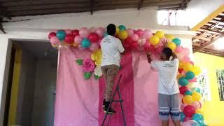 Decoração Flamingo - Arco desconstruído - Festa em casa