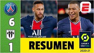 PSG 6-1 Angers DOBLETE de Neymar y GOL de Mbappé. Jugaron Leandro Paredes y Mauro Icardi | Ligue 1