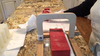 Cutting Apple Pie Cold Process Soap With Swirl