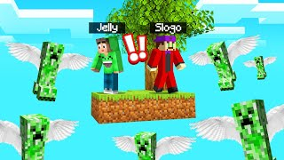 SKYBLOCK But FLYING CREEPERS Attack Us! (Minecraft)