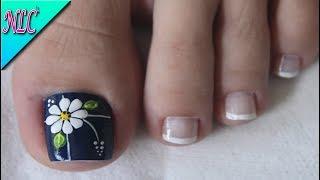 DISEÑO DE UÑAS PARA PIES FLOR - COMO HACER FLORES - FLOWERS NAIL ART - NLC