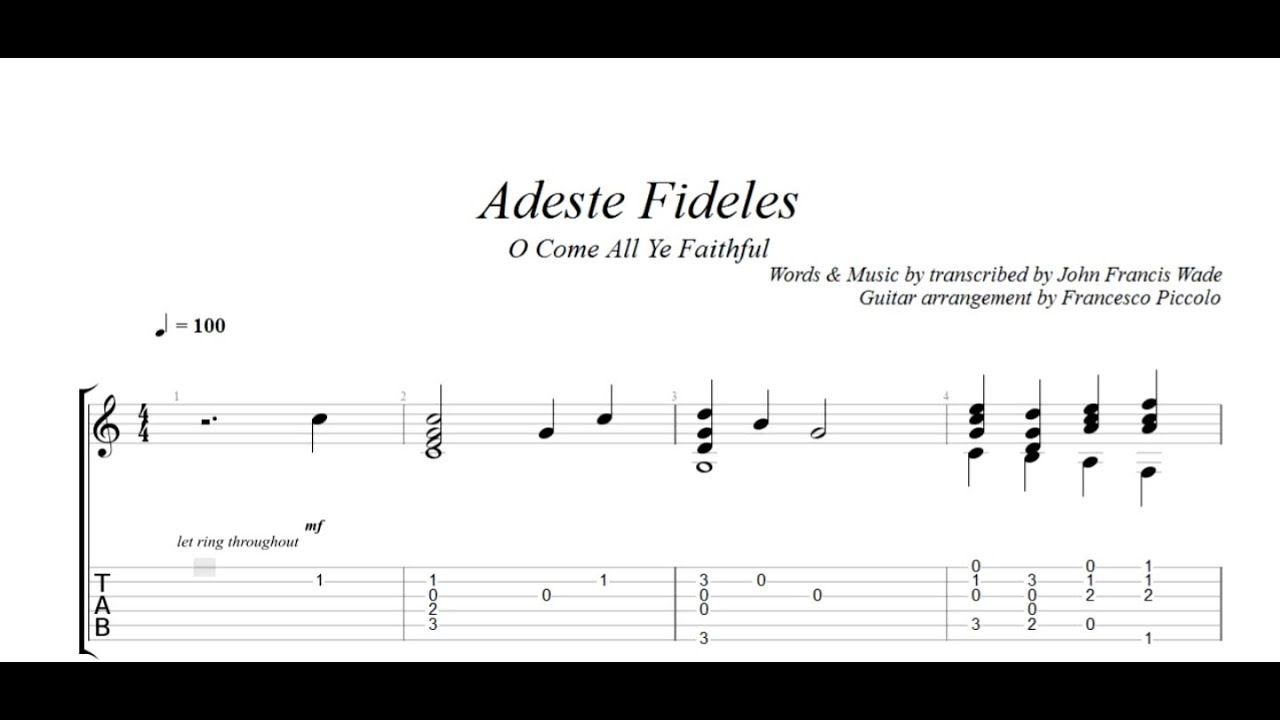 Fingerstyle Guitar Adeste Fideles O Come All Ye Faithful From