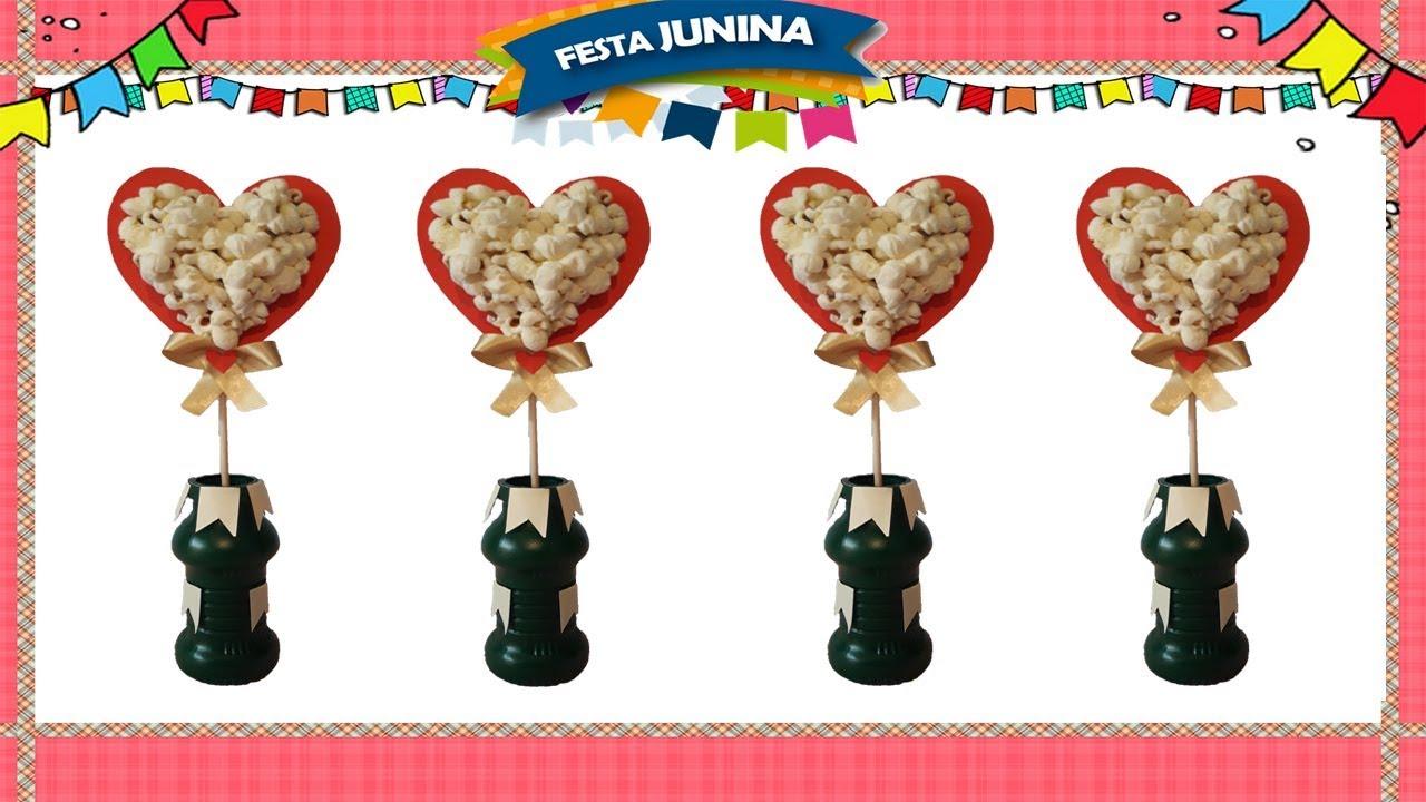 Enfeite De Festa Junina Coracao De Pipoca Com Pet Reciclado Youtube