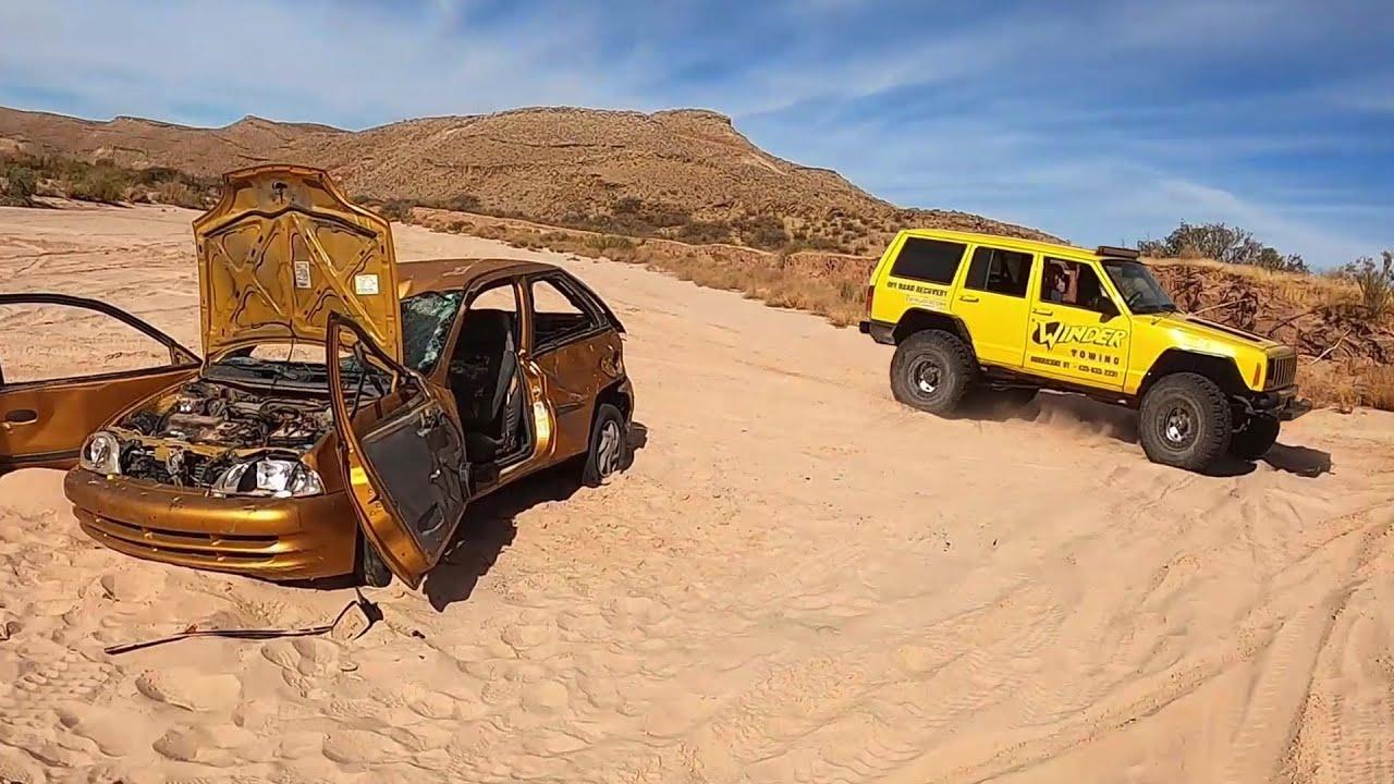 We Dragged This Car 10 Miles Through The Desert!