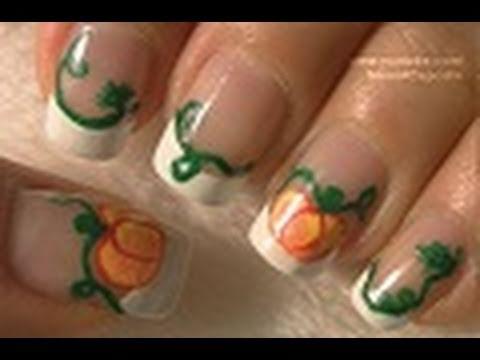 Halloween Nails - Pumpkin Nail Art Tutorial / Arte para las uñas de Calabaza