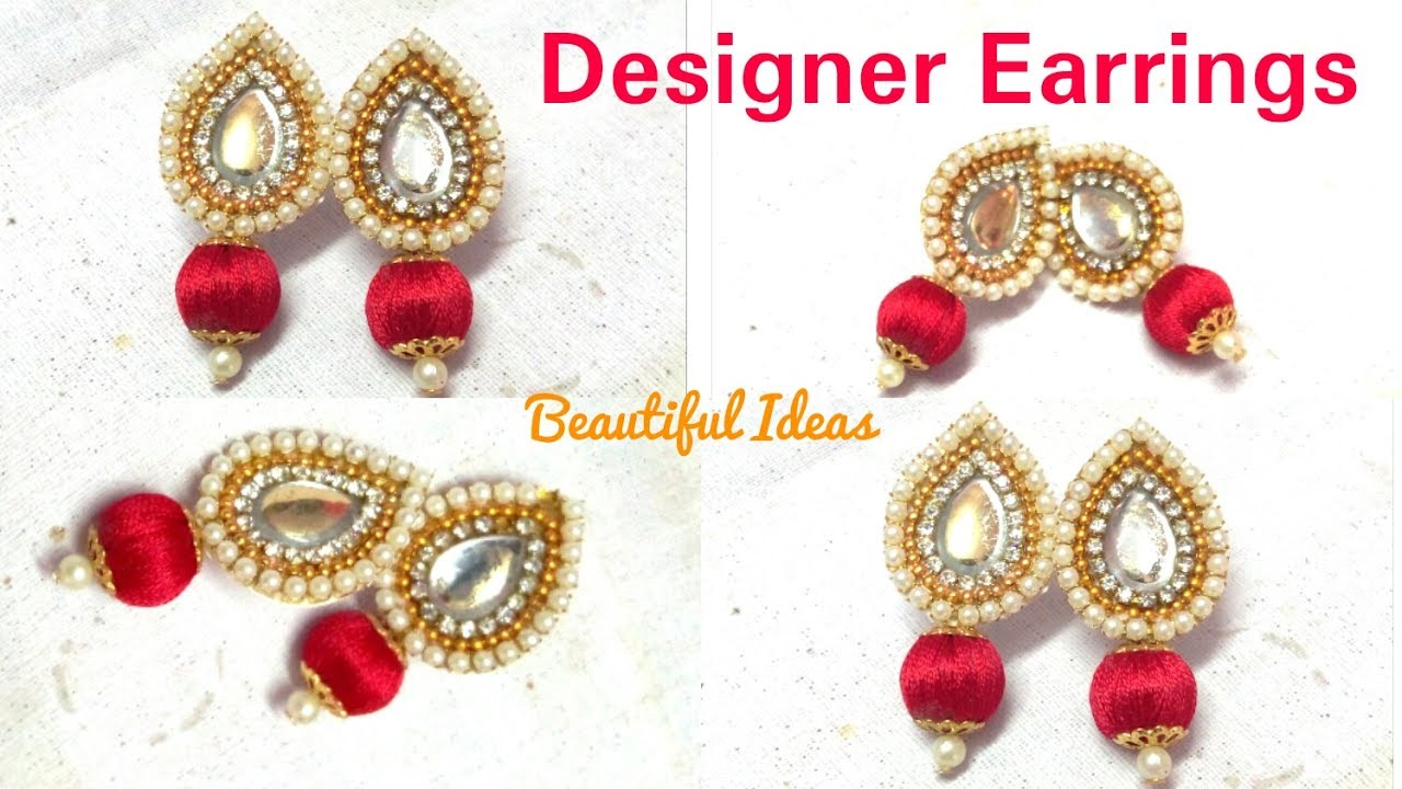 How to make Silk thread Designer Earrings//Paper Designer Earrings ...