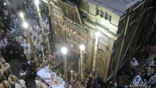 Фрагмент ночного богослужения у Гроба Господня Греческой Православной Церкви