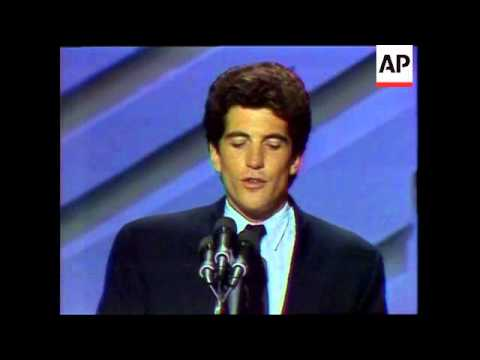 John F. Kennedy Jr. introduces his uncle Sen. Edward Kennedy (D-Mass.) at the 1988 Democratic Nation