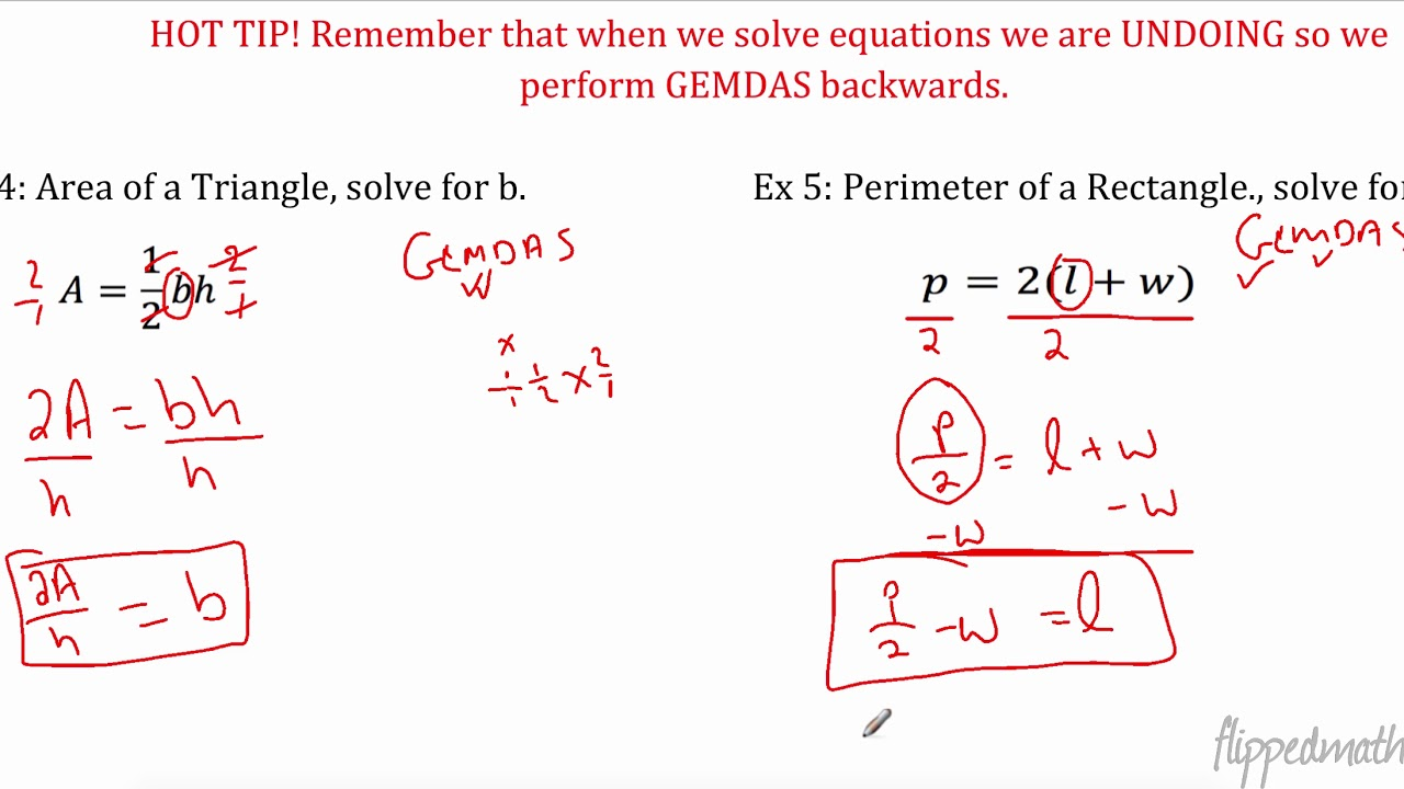 Algebra I: 225.25 Literal Equations Within Literal Equations Worksheet Answer Key