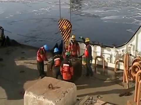 Coast Guard Cutter Alder breaking ice in Duluth Harbor