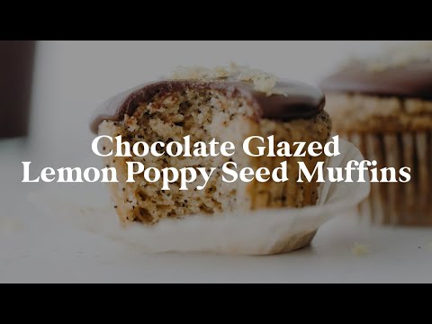Chocolate Glazed Lemon Poppy Seed Muffins // vegan + gluten-free