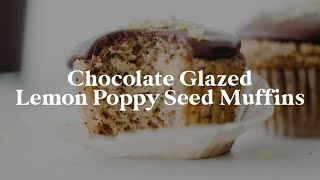 Chocolate Glazed Lemon Poppy Seed Muffins // vegan + gluten-free