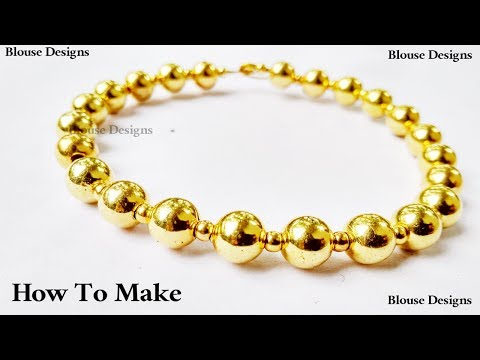 How to make bead bracelet with gold beads Easy Diy ||  beadwork