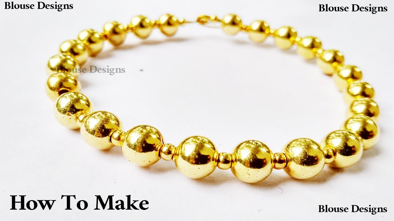 How To Make Bead Bracelet With Gold Beads Easy Diy Beadwork