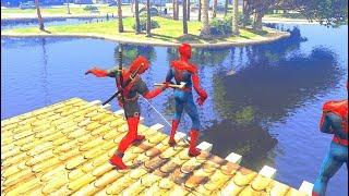 GTA 5 Water Ragdolls SPIDERMAN VS DEADPOOL EPIC (Euphoria Physics, Ragdolls, Fails, Funny Moments)