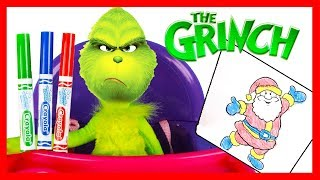 The Grinch Movie 3 Marker Challenge vs RALPH Breaks the Internet Santa Drawing for LOL Surprise