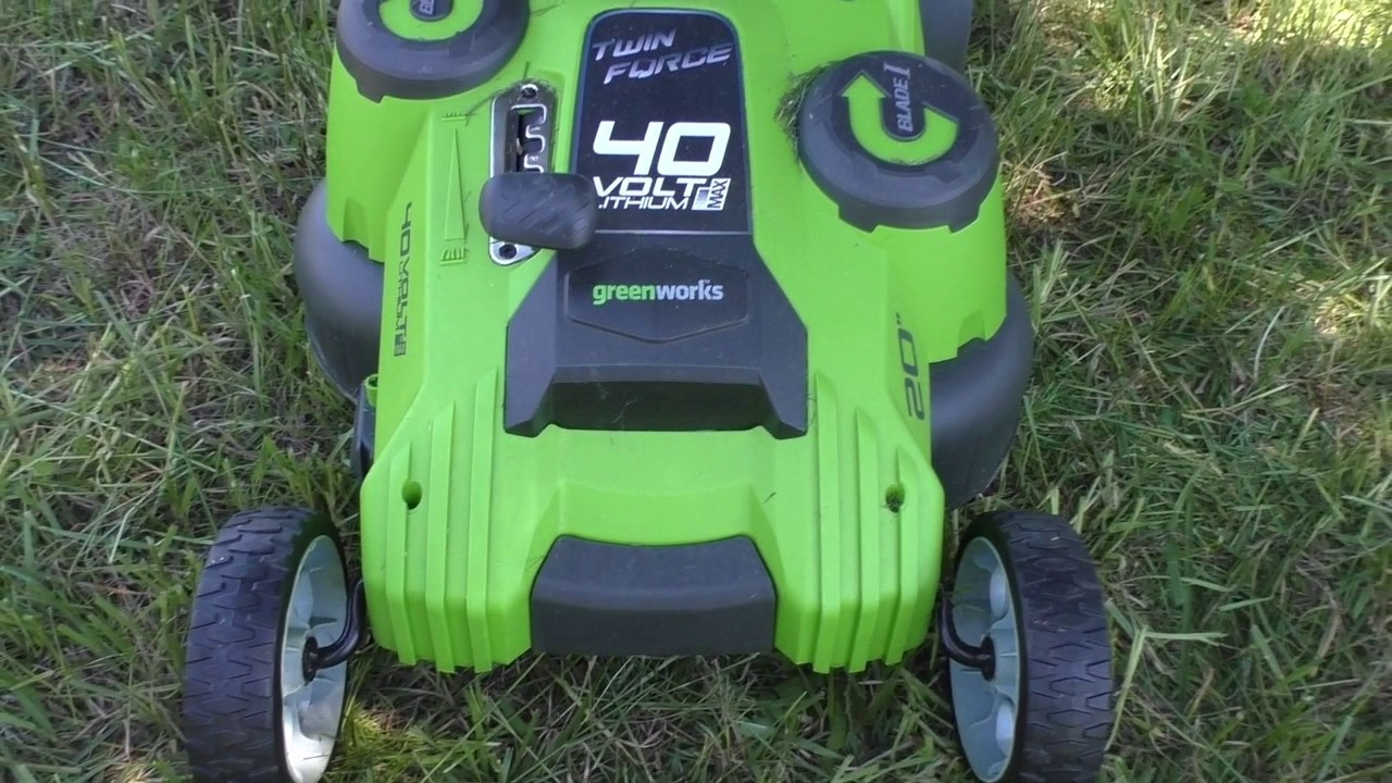 Greenworks 25302 G Max 40v Twin Force 20 Inch Cordless Lawn Mower Youtube