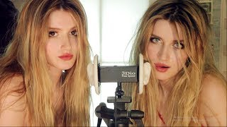ASMR - EAR CLEANING by FUNNY TWINS! - MOUTH & KISSING Sounds  included