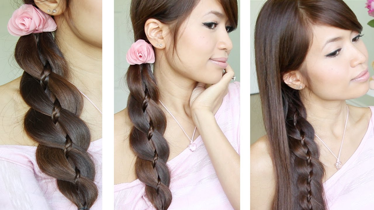 unique 4 strand braid (braid in braid) hairstyles for medium long