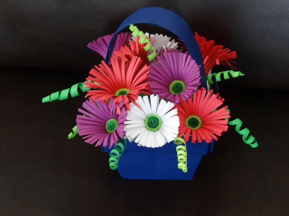 How To Make Flower Basket With Chart Paper : Part ii how to make quilling flower basket