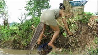 Beautiful Girl Fishing   Amazing Fishing at Battambang   How To Catch Fish By Hand Part32