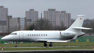 Dassault Falcon 2000 D-BEKY Departing London City Airport