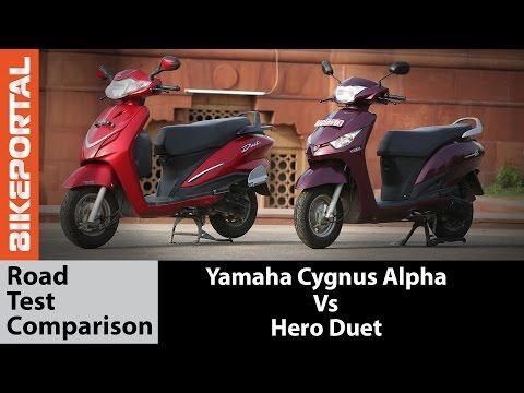 Yamaha Cygnus Alpha Vs Hero Duet Test Ride Comparison - Bikeportal