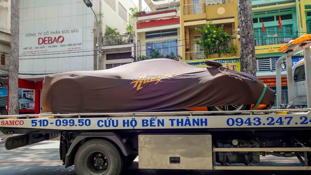 Vận chuyển Pagani Huayra 80 tỷ của Minh Nhựa vào trung tâm Sài Gòn