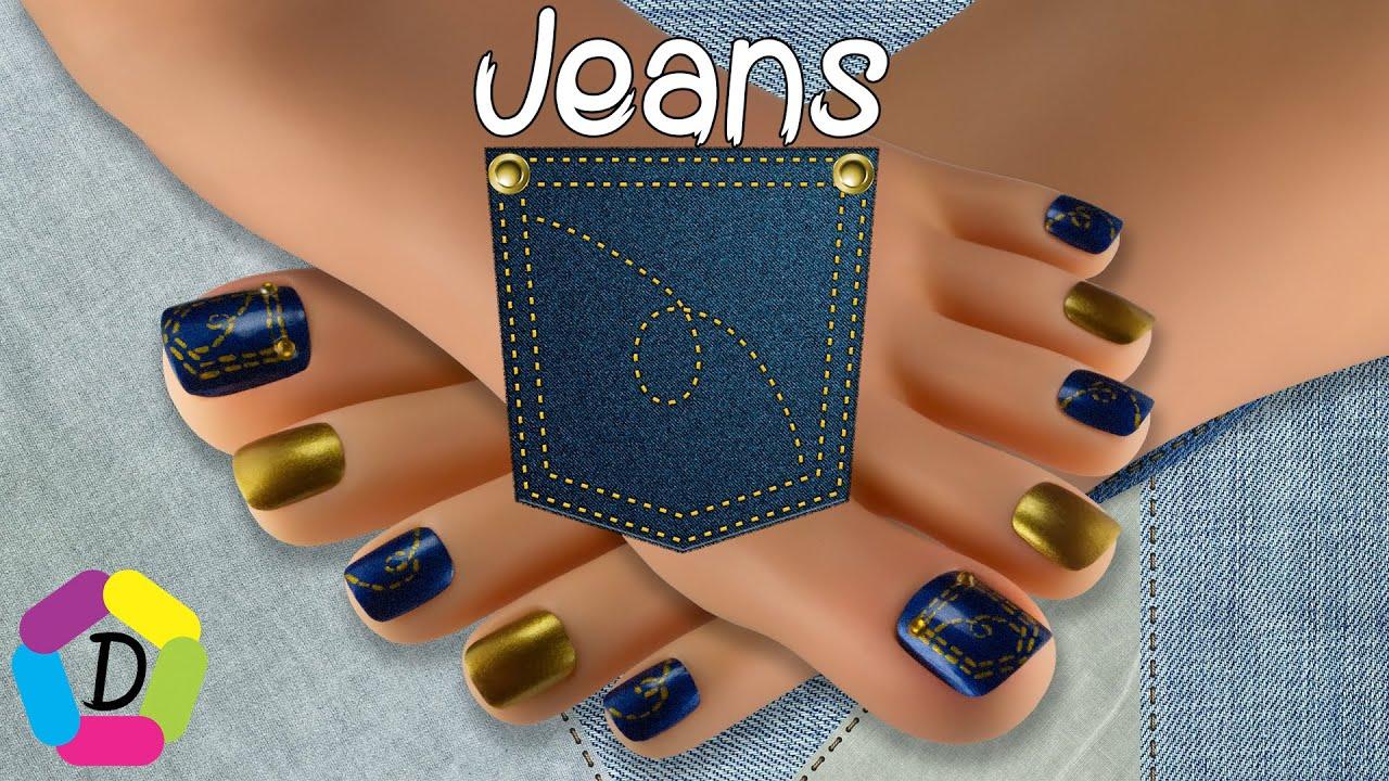 Diseño para Jeans | Decoración de Uñas para Pies Fácil | Design for ...