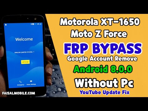 Motorola Z Force (XT-1650) Frp Bypass WIthout Pc Android 8.0 || Youtube Update Fix 100% Done