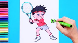 How to draw and color a boy playing tennis