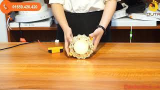 Bộ đèn led âm trần mặt hoa văn vàng đính đá 7w đơn màu