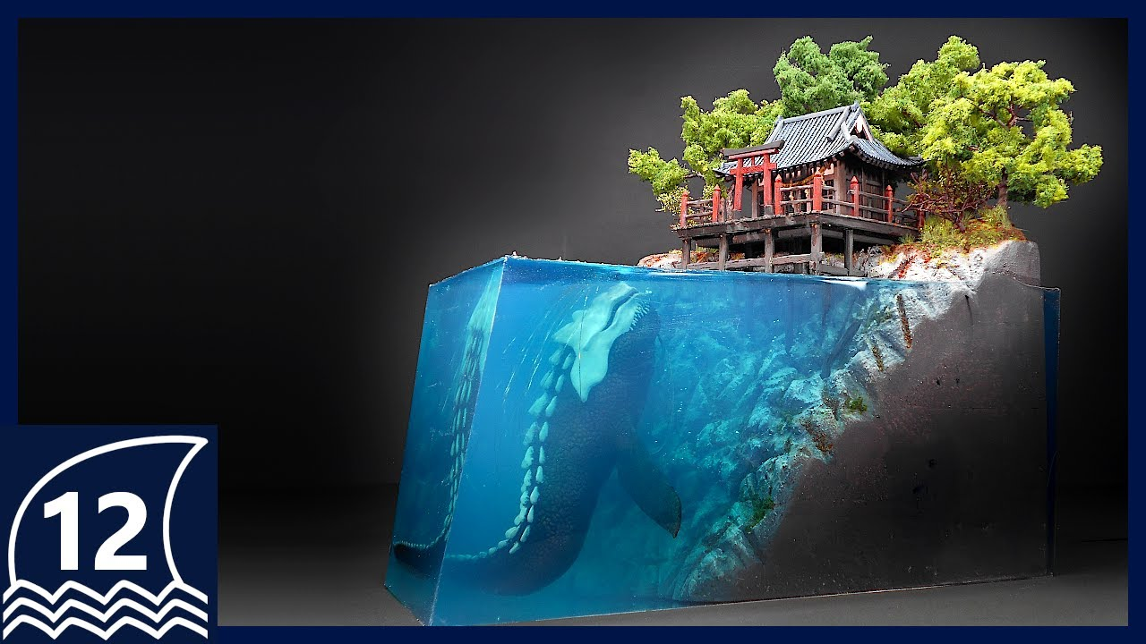 DIY. Forgotten shrine and guardian diorama【thalassophobia/Aquaphobia/Cryptid/Creature/Resinart】