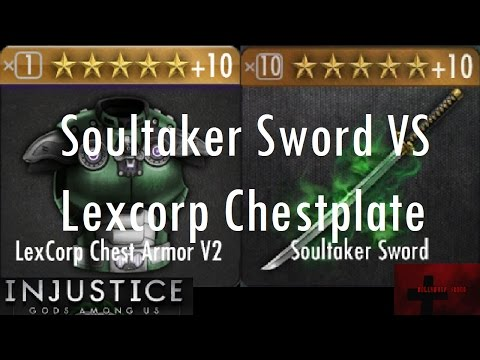 Injustice Gods Among Us iOS - Soultaker Sword vs Lexcorp Chestplate