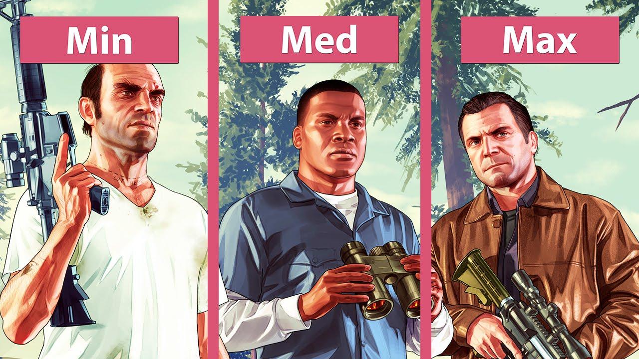 Grand Theft Auto 5 / GTA 5 – PC Min vs  Med vs  Max Graphics Comparison  [WQHD|1440p]