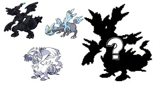 Pokemon Fusion Sprite: Request #49: Reshiram Zekrom Kyurem B&W Legendaries