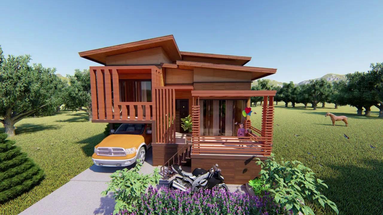 Desain Rumah Kayu Minimalis 8x10m Denah Dan Interior Rumah Panggung Pedesaan Wood House Design Youtube
