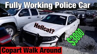 Copart Walk Around, Fully Working Police Car with Hellcat Parts? Live Auction and More