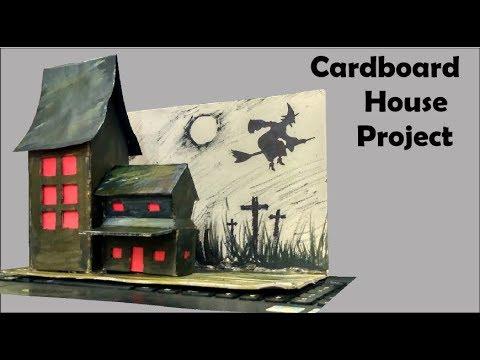 How To Make Small Cardboard House | DIY Cardboard Haunted House Craft