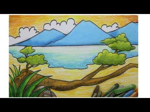 Cara Menggambar Pemandangan Pantai Pohon Gunung Laut Youtube