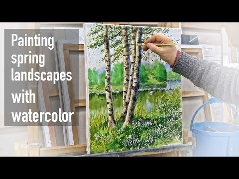 Watercolor painting process tutorial (speed painting) – Drawing spring landscapes