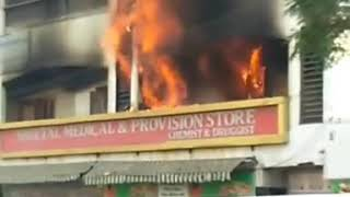 The building of well known sheetal medical store at manjalpur naka caught fire