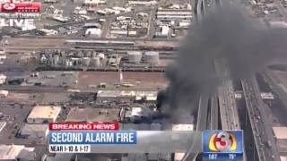 Explosive fire burning at industrial building near I-10 in central Phoenix