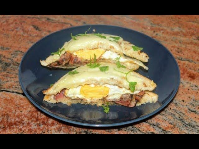 Лесна американска закуска с яйца,бекон и кашкавал