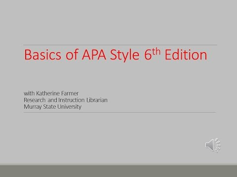 Basics of APA Style 6th Edition Workshop